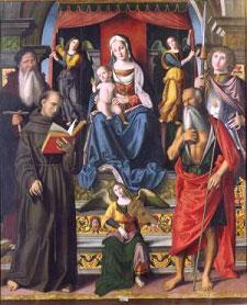 madonna col bambino in trono, fra tre angeli e quattro santi